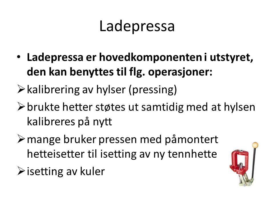 Ladepressa • Ladepressa er hovedkomponenten i utstyret, den kan benyttes til flg.