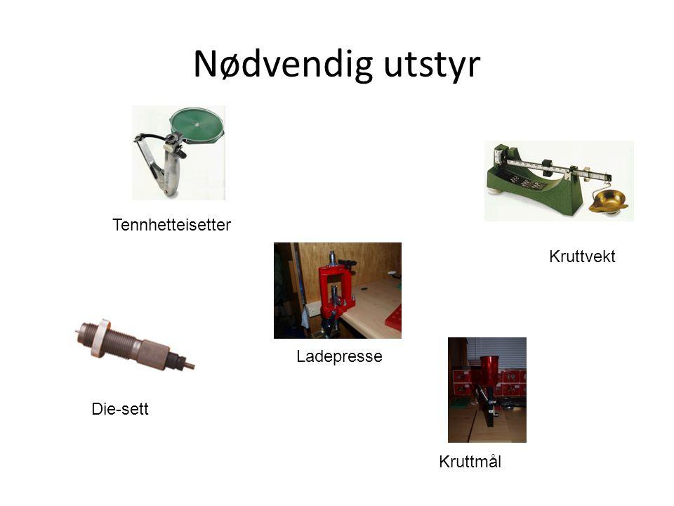 Nødvendig utstyr Tennhetteisetter Die-sett Ladepresse Kruttvekt Kruttmål