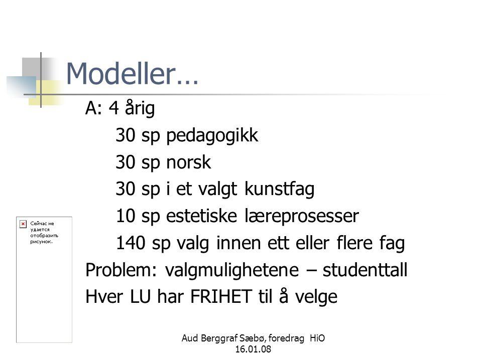 Aud Berggraf Sæbø, foredrag HiO 16.01.08 Modeller… A: 4 årig 30 sp pedagogikk 30 sp norsk 30 sp i et valgt kunstfag 10 sp estetiske læreprosesser 140