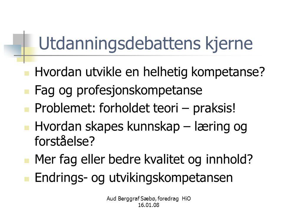 Aud Berggraf Sæbø, foredrag HiO 16.01.08 Utdanningsdebattens kjerne  Hvordan utvikle en helhetig kompetanse?  Fag og profesjonskompetanse  Probleme