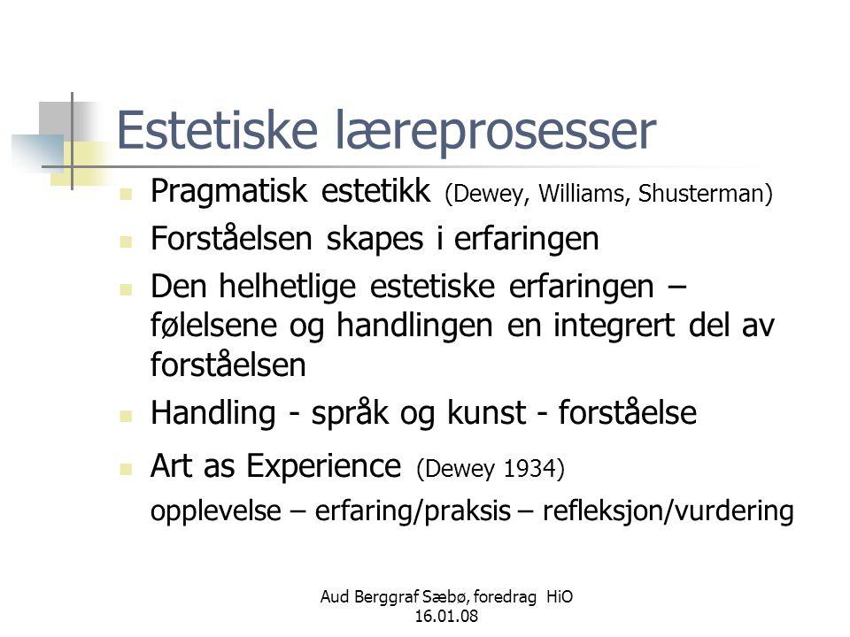 Aud Berggraf Sæbø, foredrag HiO 16.01.08 Estetiske læreprosesser  Pragmatisk estetikk (Dewey, Williams, Shusterman)  Forståelsen skapes i erfaringen