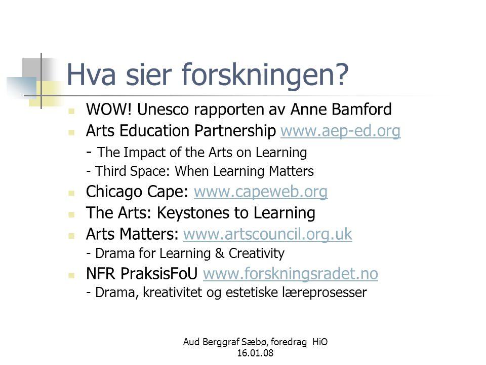 Aud Berggraf Sæbø, foredrag HiO 16.01.08 Hva sier forskningen?  WOW! Unesco rapporten av Anne Bamford  Arts Education Partnership www.aep-ed.orgwww.