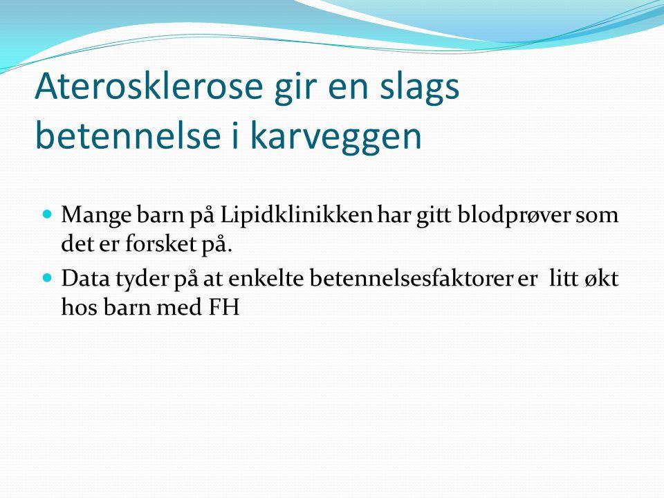 Aterosklerose gir en slags betennelse i karveggen  Mange barn på Lipidklinikken har gitt blodprøver som det er forsket på.  Data tyder på at enkelte