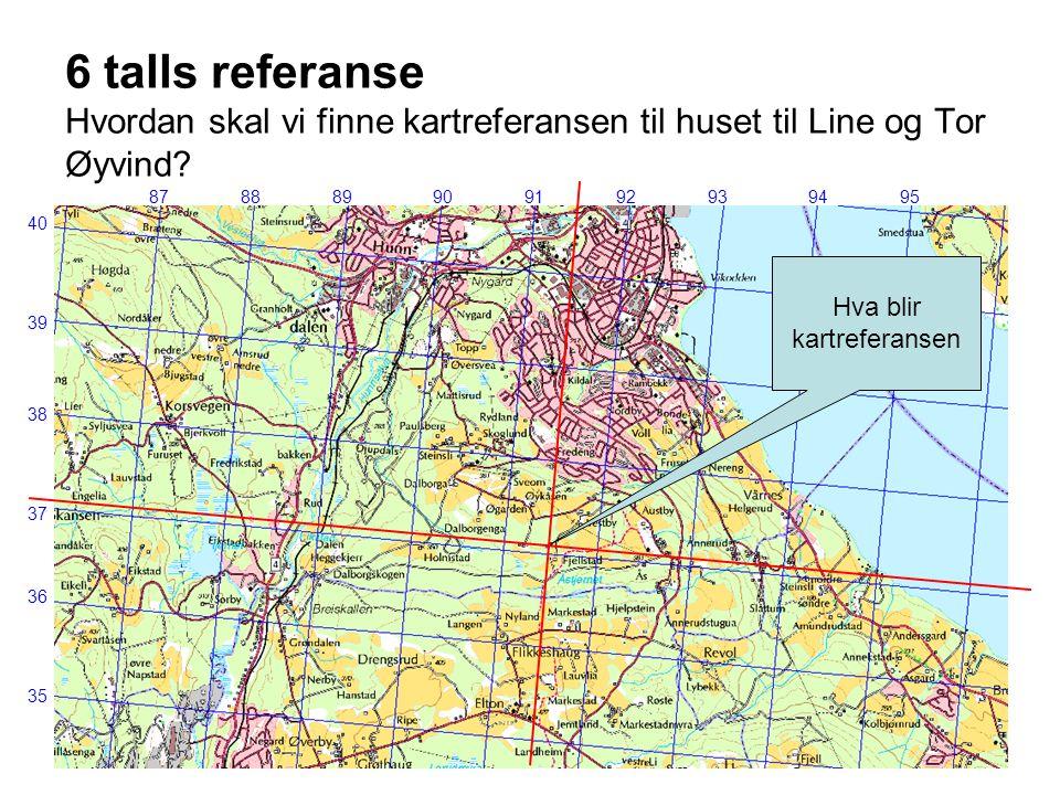 6 talls referanse Hvordan skal vi finne kartreferansen til huset til Line og Tor Øyvind? 8788899091929394 39 36 37 38 35 95 Hva blir kartreferansen 40