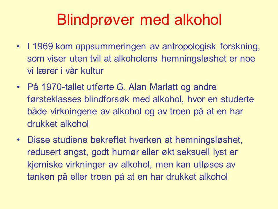 Blindprøver med alkohol •I 1969 kom oppsummeringen av antropologisk forskning, som viser uten tvil at alkoholens hemningsløshet er noe vi lærer i vår
