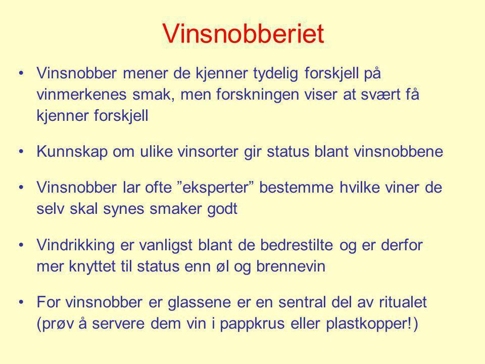 Vinsnobberiet •Vinsnobber mener de kjenner tydelig forskjell på vinmerkenes smak, men forskningen viser at svært få kjenner forskjell •Kunnskap om uli