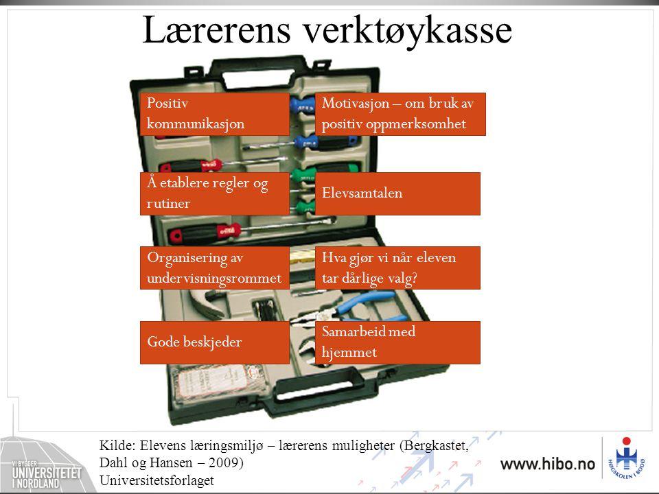 Lærerens verktøykasse Kilde: Elevens læringsmiljø – lærerens muligheter (Bergkastet, Dahl og Hansen – 2009) Universitetsforlaget