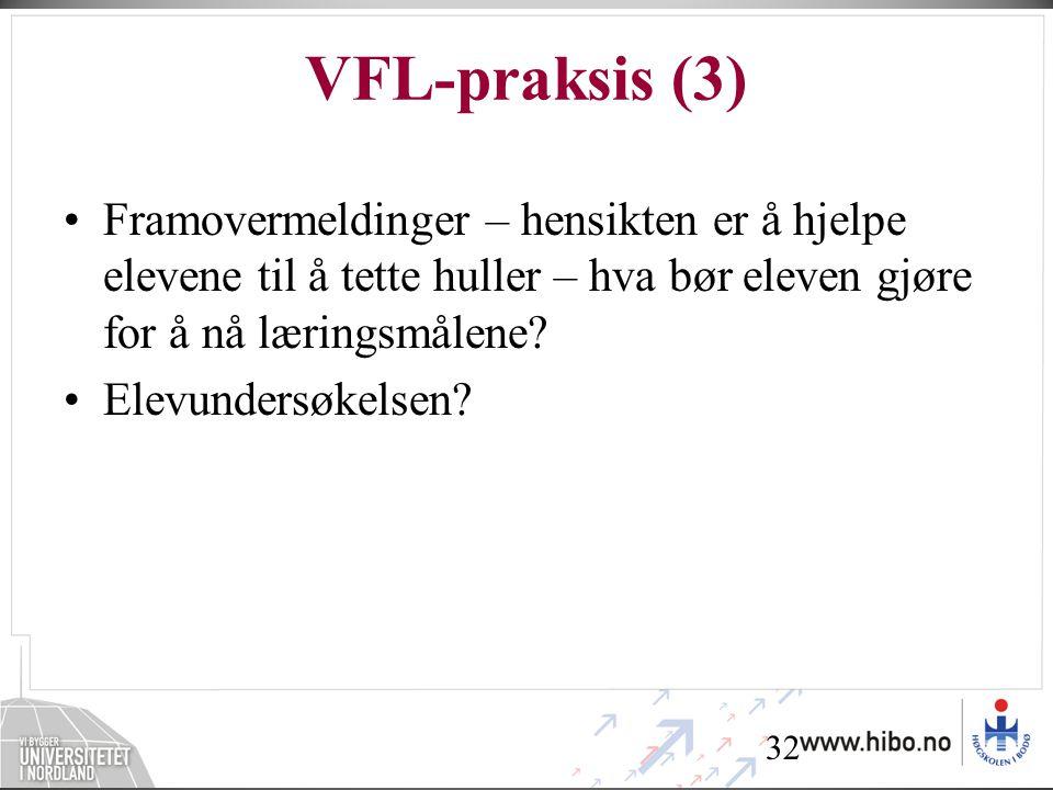 32 VFL-praksis (3) •Framovermeldinger – hensikten er å hjelpe elevene til å tette huller – hva bør eleven gjøre for å nå læringsmålene? •Elevundersøke
