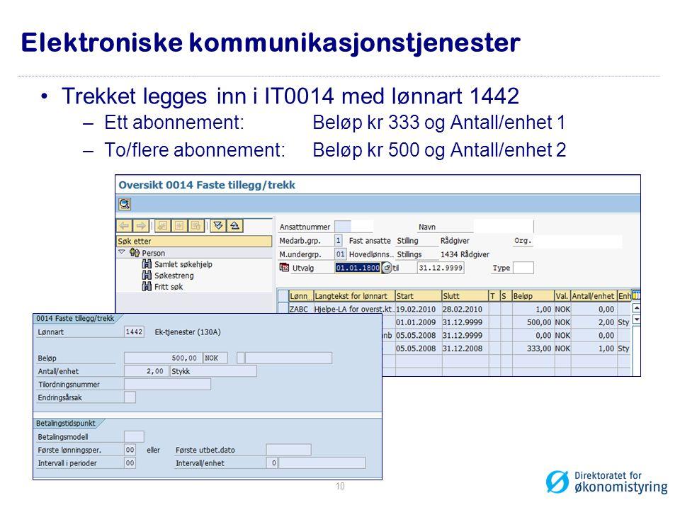 •Trekket legges inn i IT0014 med lønnart 1442 –Ett abonnement: Beløp kr 333 og Antall/enhet 1 –To/flere abonnement: Beløp kr 500 og Antall/enhet 2 10