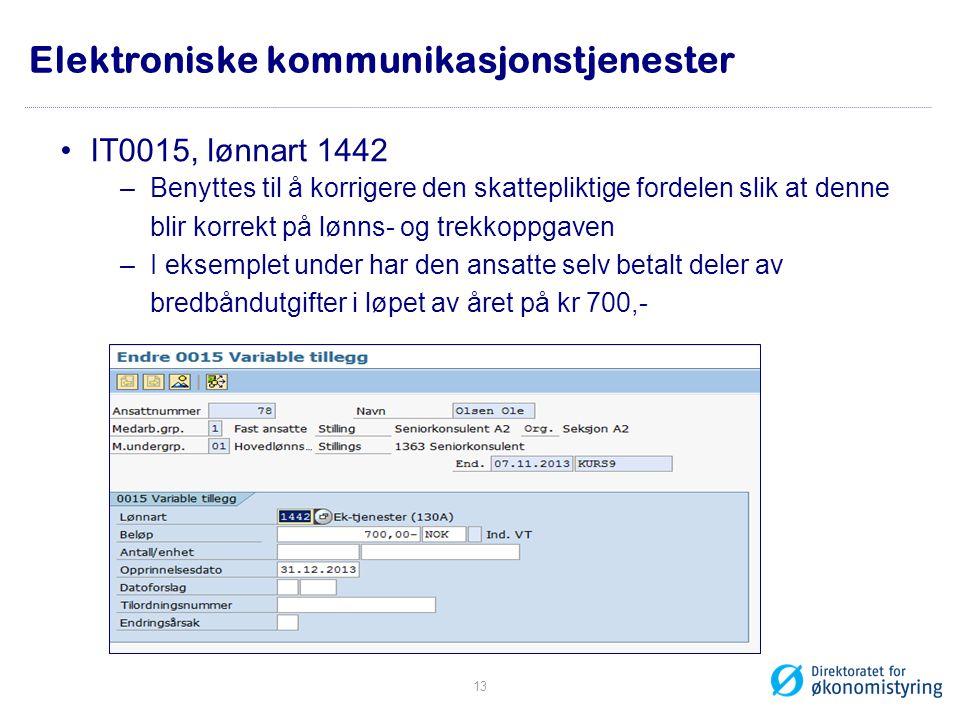 Elektroniske kommunikasjonstjenester •IT0015, lønnart 1442 –Benyttes til å korrigere den skattepliktige fordelen slik at denne blir korrekt på lønns-