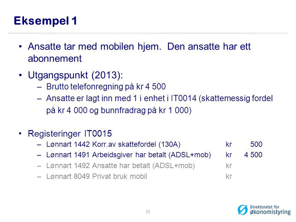 Eksempel 1 •Ansatte tar med mobilen hjem. Den ansatte har ett abonnement •Utgangspunkt (2013): –Brutto telefonregning på kr 4 500 –Ansatte er lagt inn
