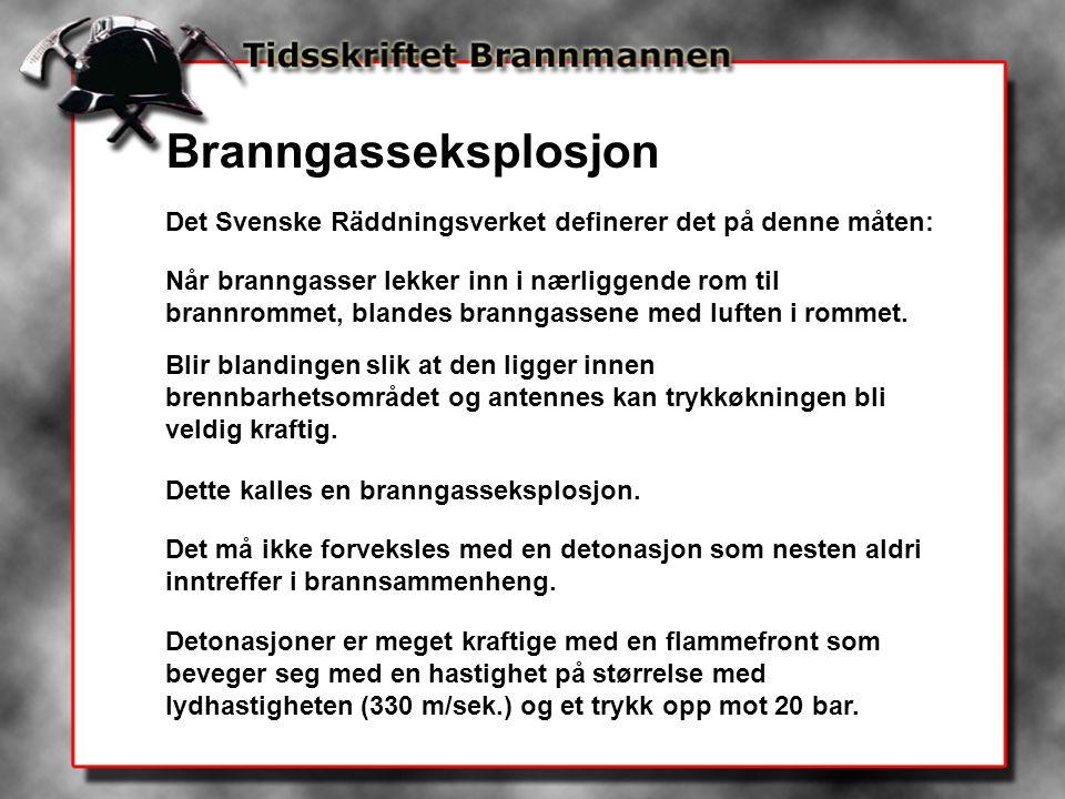 Branngasseksplosjon Det Svenske Räddningsverket definerer det på denne måten: Når branngasser lekker inn i nærliggende rom til brannrommet, blandes br