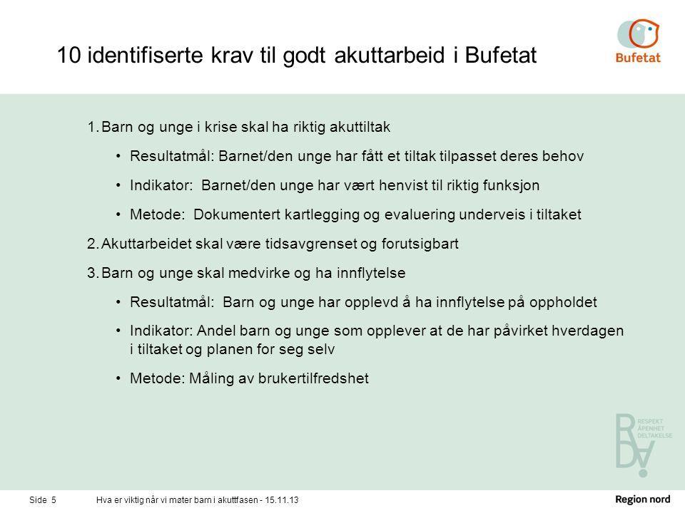 10 identifiserte krav til godt akuttarbeid i Bufetat 1.Barn og unge i krise skal ha riktig akuttiltak •Resultatmål: Barnet/den unge har fått et tiltak