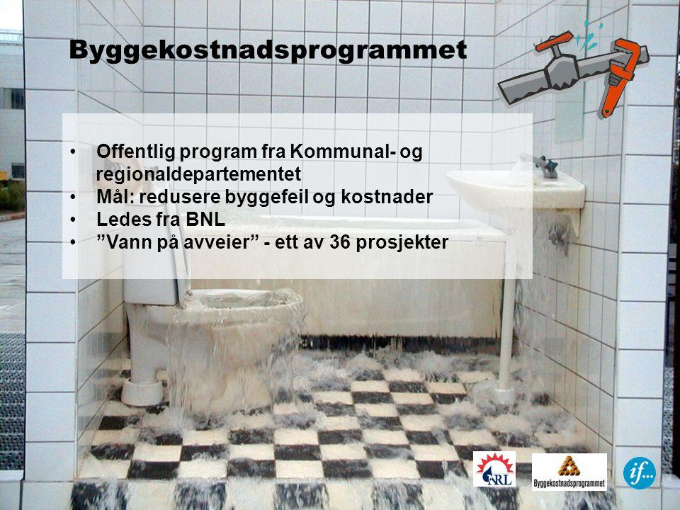 Byggekostnadsprogrammet •Offentlig program fra Kommunal- og regionaldepartementet •Mål: redusere byggefeil og kostnader •Ledes fra BNL • Vann på avveier - ett av 36 prosjekter