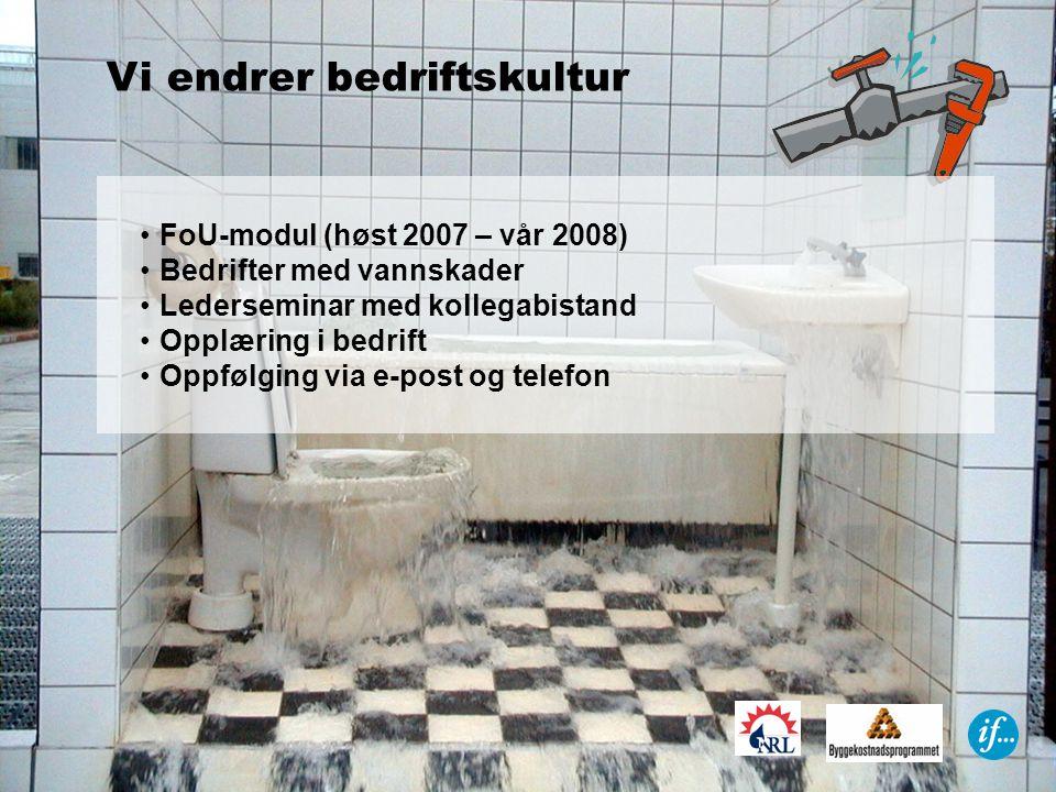 •FoU-modul (høst 2007 – vår 2008) •Bedrifter med vannskader •Lederseminar med kollegabistand •Opplæring i bedrift •Oppfølging via e-post og telefon Vi endrer bedriftskultur