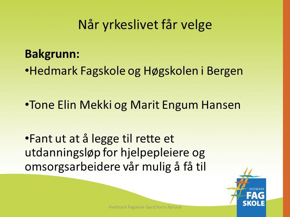 Når yrkeslivet får velge Bakgrunn: • Hedmark Fagskole og Høgskolen i Bergen • Tone Elin Mekki og Marit Engum Hansen • Fant ut at å legge til rette et