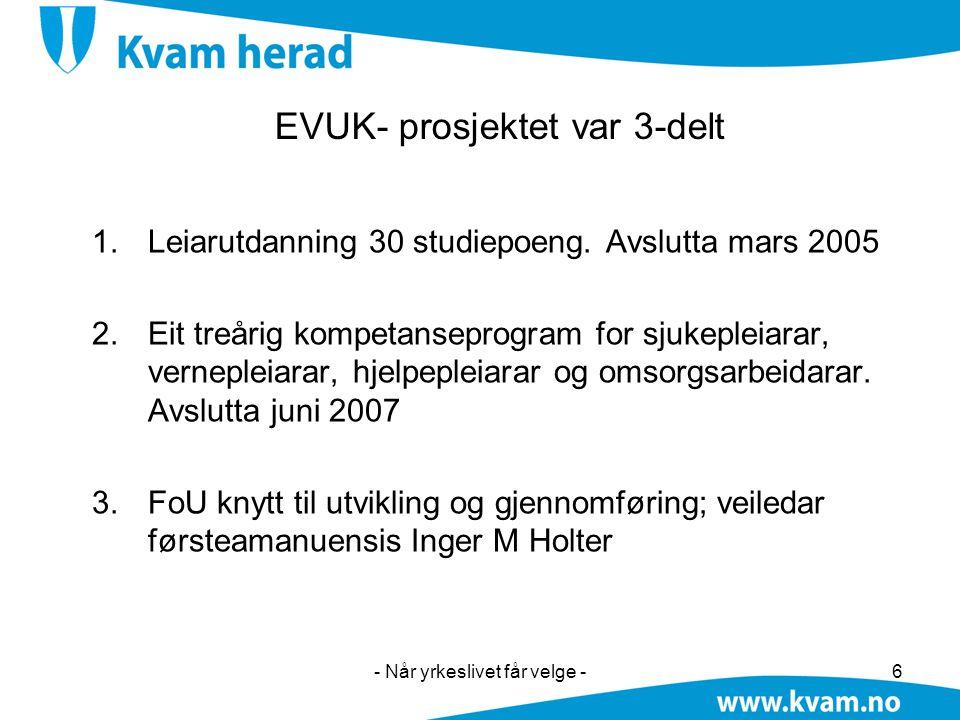 - Når yrkeslivet får velge -6 EVUK- prosjektet var 3-delt 1.Leiarutdanning 30 studiepoeng. Avslutta mars 2005 2.Eit treårig kompetanseprogram for sjuk