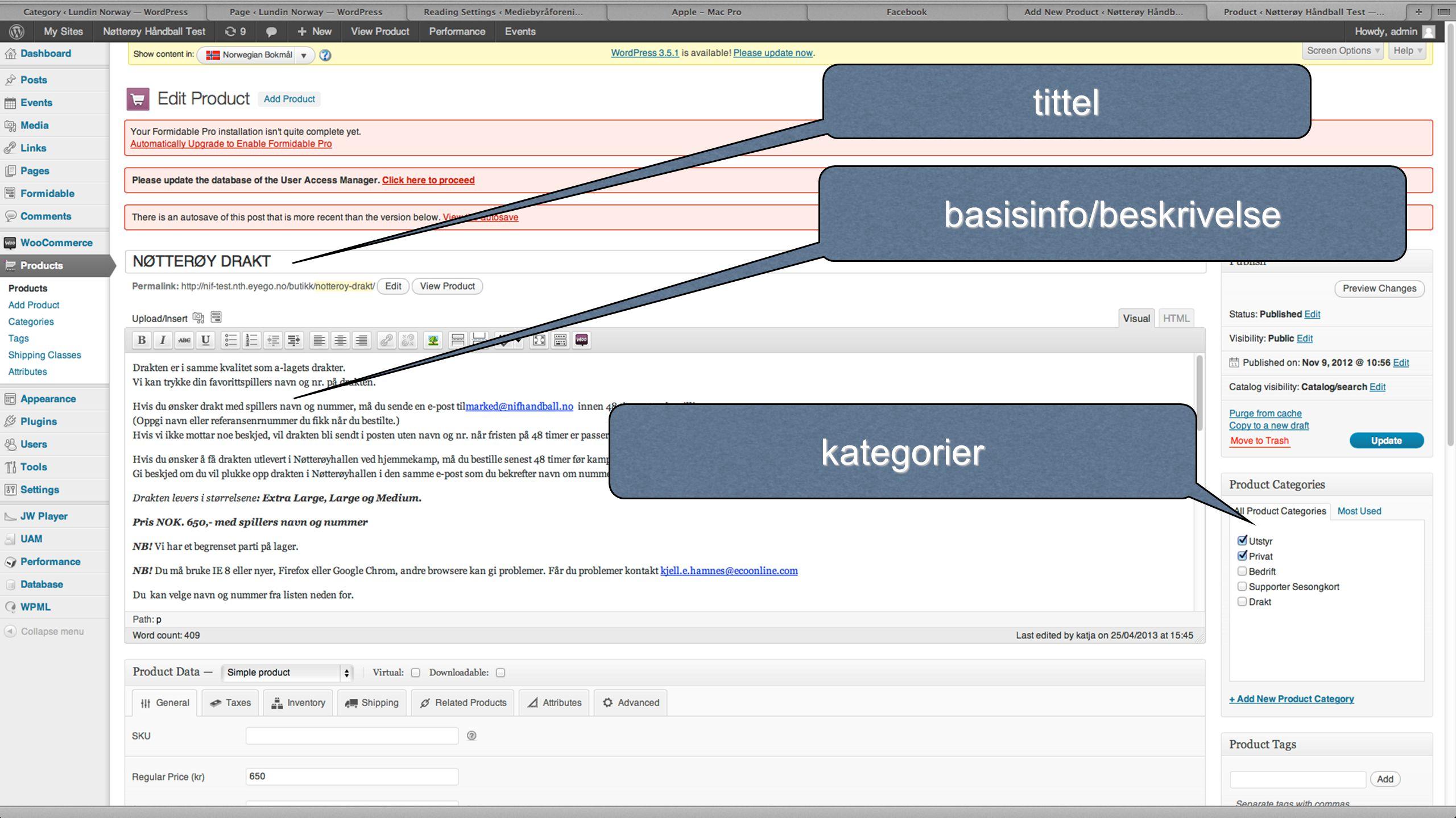 tittel basisinfo/beskrivelse kategorier