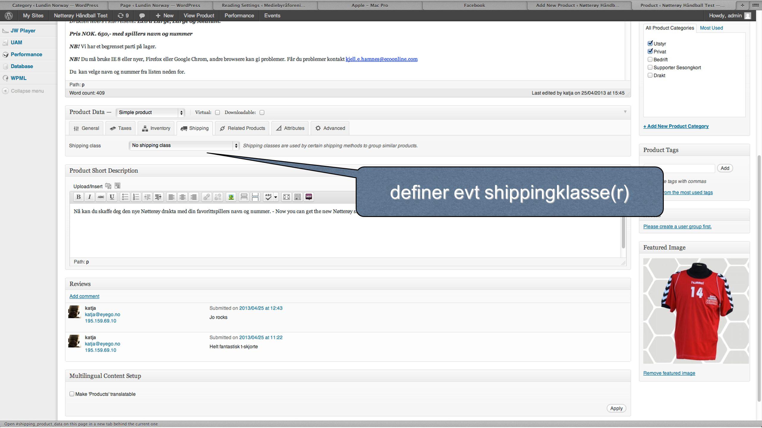 definer evt shippingklasse(r)