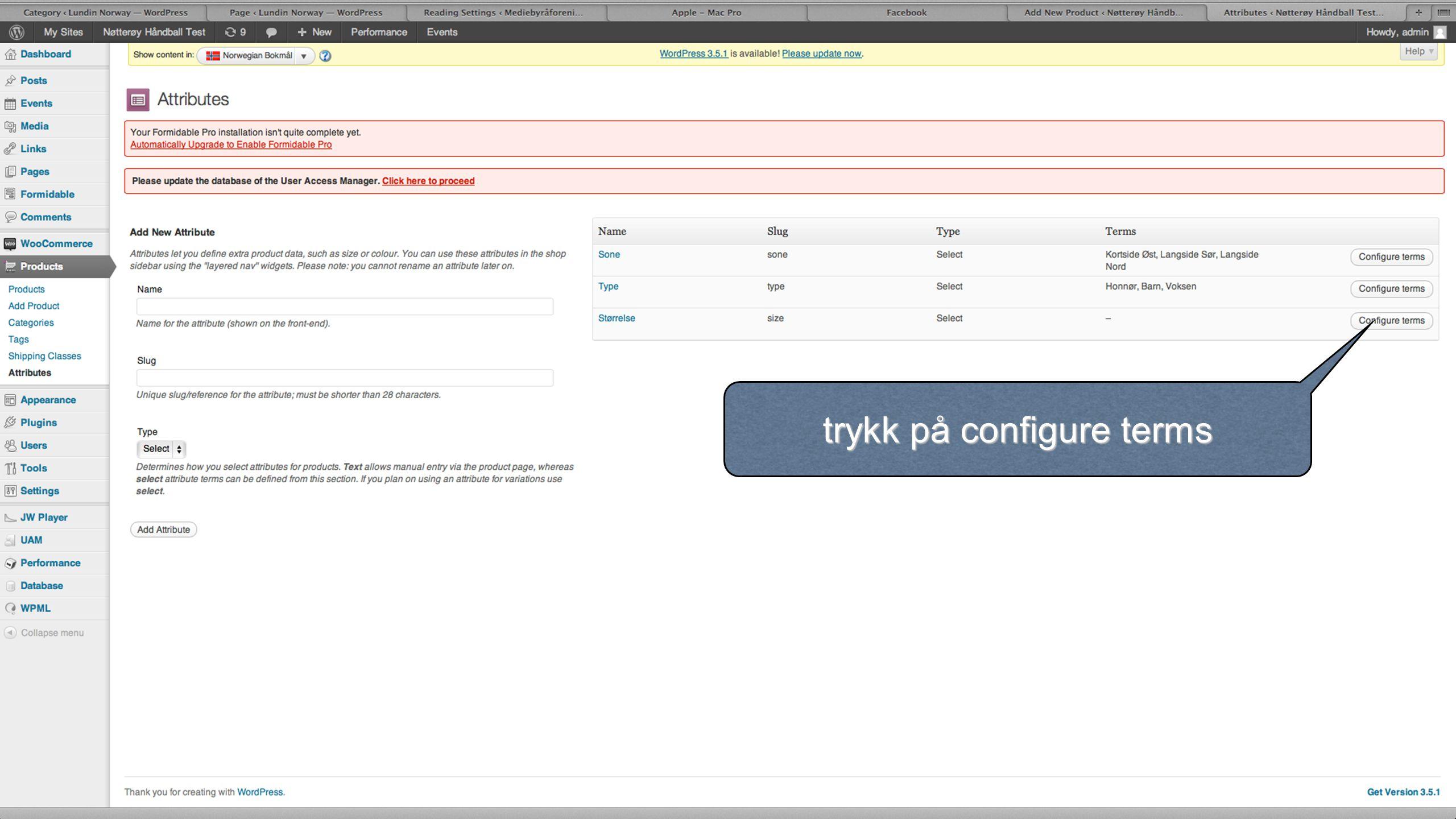 trykk på configure terms