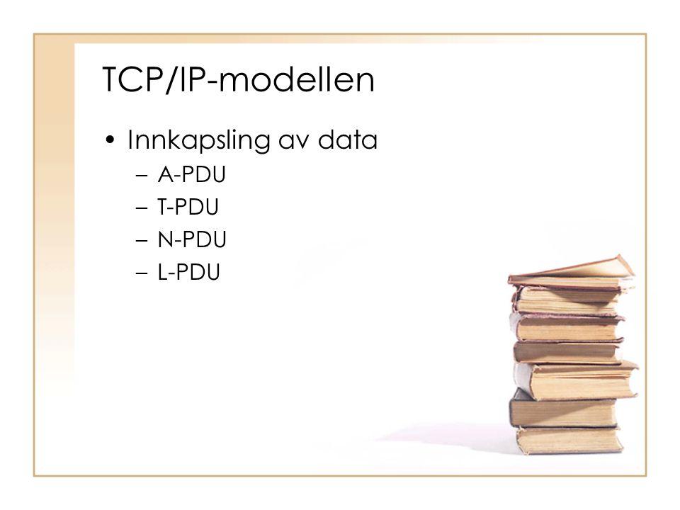 TCP/IP-modellen •Innkapsling av data –A-PDU –T-PDU –N-PDU –L-PDU