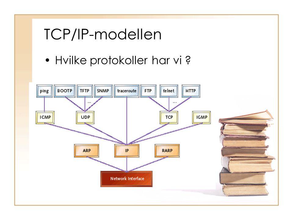 TCP/IP-modellen •Hvilke protokoller har vi ?