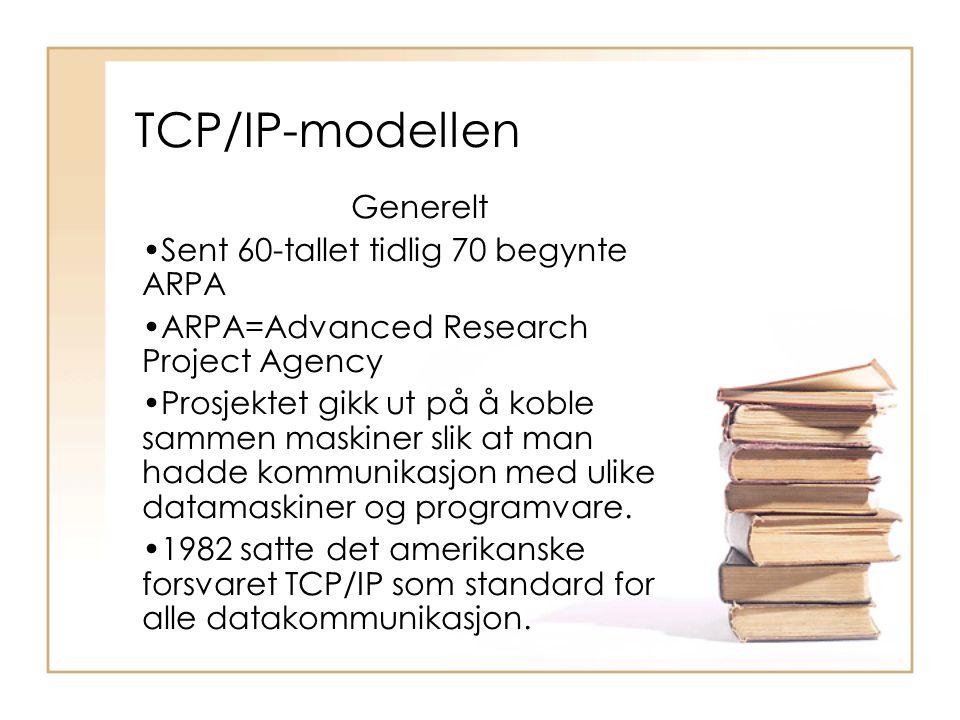 Generelt •Sent 60-tallet tidlig 70 begynte ARPA •ARPA=Advanced Research Project Agency •Prosjektet gikk ut på å koble sammen maskiner slik at man hadd
