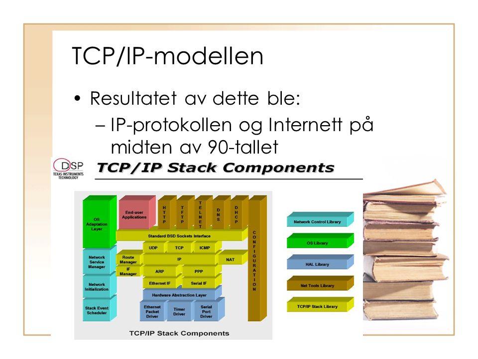 TCP/IP-modellen •Resultatet av dette ble: –IP-protokollen og Internett på midten av 90-tallet
