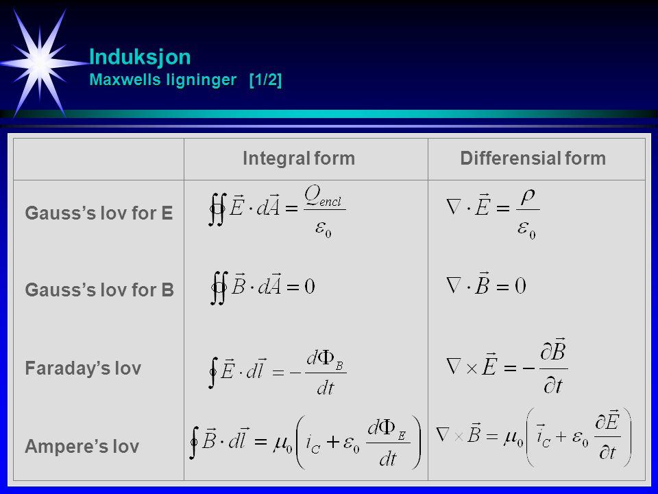 Induksjon Maxwells ligninger [1/2] Faraday's lov Gauss's lov for E Gauss's lov for B Ampere's lov Integral formDifferensial form