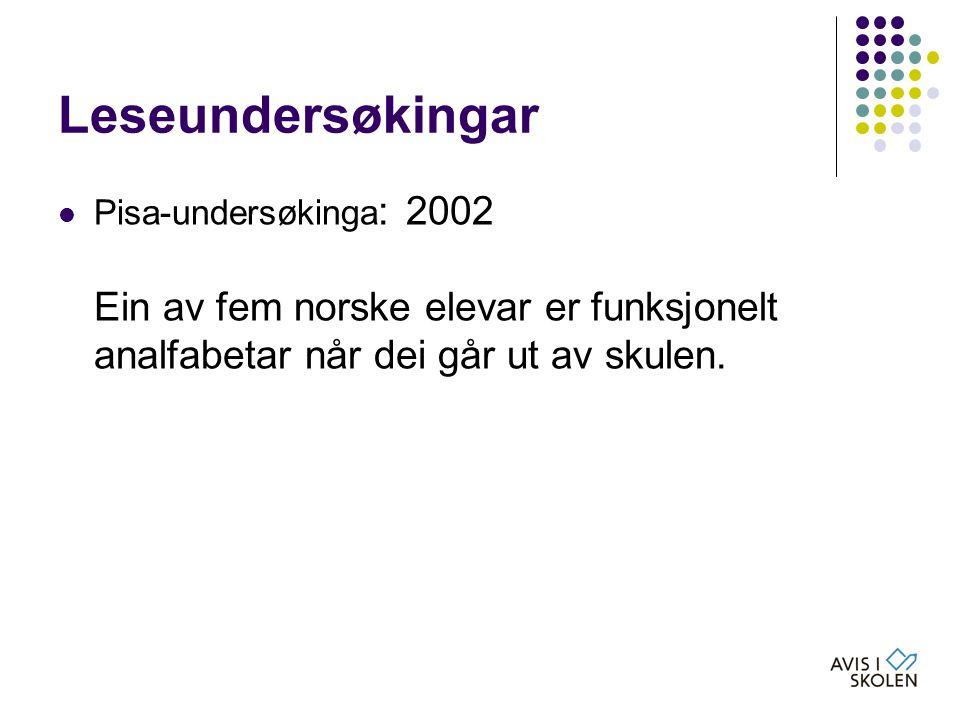 Leseundersøkingar  Pisa-undersøkinga : 2002 Ein av fem norske elevar er funksjonelt analfabetar når dei går ut av skulen.