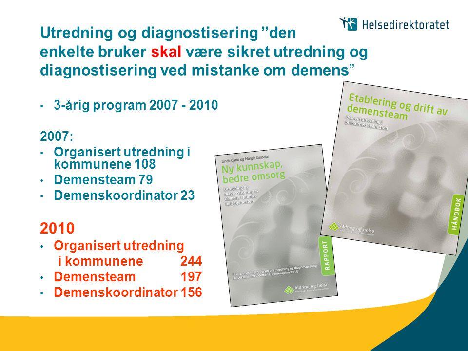"Utredning og diagnostisering ""den enkelte bruker skal være sikret utredning og diagnostisering ved mistanke om demens"" • 3-årig program 2007 - 2010 20"