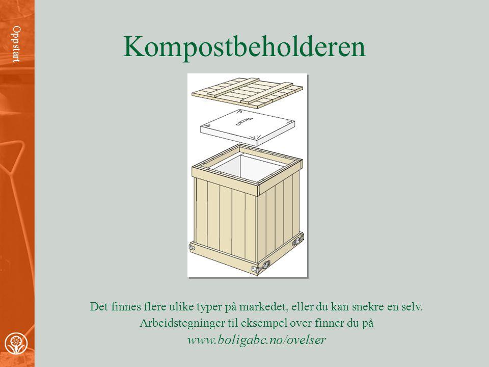 Nødvendig utstyr Oppstart Kompostbeholder: •Isolert for at prosessen skal gå i vinterhalvåret. •Musetett, men ikke så tett at luftgjennomstrømming hin
