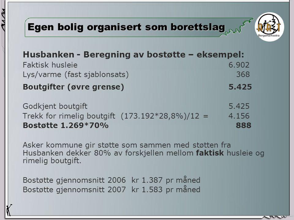 Husbanken - Beregning av bostøtte – eksempel: Faktisk husleie6.902 Lys/varme (fast sjablonsats) 368 Boutgifter (øvre grense)5.425 Godkjent boutgift 5.425 Trekk for rimelig boutgift (173.192*28,8%)/12 =4.156 Bostøtte 1.269*70% 888 Asker kommune gir støtte som sammen med støtten fra Husbanken dekker 80% av forskjellen mellom faktisk husleie og rimelig boutgift.