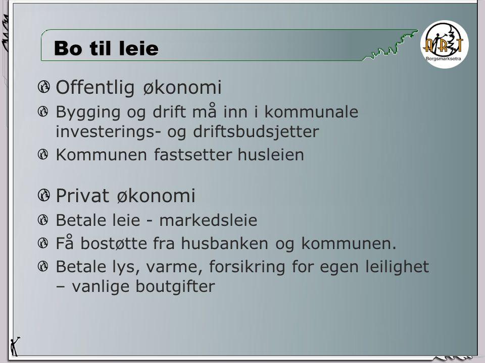 Bo til leie Offentlig økonomi Bygging og drift må inn i kommunale investerings- og driftsbudsjetter Kommunen fastsetter husleien Privat økonomi Betale leie - markedsleie Få bostøtte fra husbanken og kommunen.