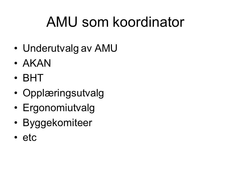 AMU som koordinator •Underutvalg av AMU •AKAN •BHT •Opplæringsutvalg •Ergonomiutvalg •Byggekomiteer •etc