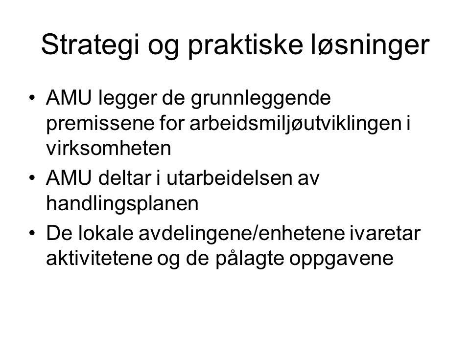 Strategi og praktiske løsninger •AMU legger de grunnleggende premissene for arbeidsmiljøutviklingen i virksomheten •AMU deltar i utarbeidelsen av hand