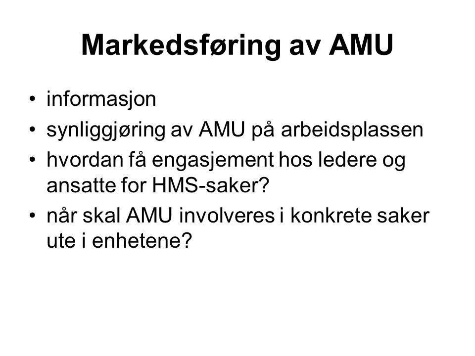 Markedsføring av AMU •informasjon •synliggjøring av AMU på arbeidsplassen •hvordan få engasjement hos ledere og ansatte for HMS-saker? •når skal AMU i