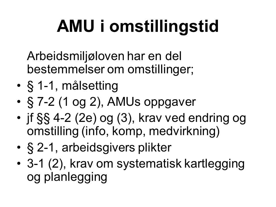 AMU i omstillingstid Arbeidsmiljøloven har en del bestemmelser om omstillinger; •§ 1-1, målsetting •§ 7-2 (1 og 2), AMUs oppgaver •jf §§ 4-2 (2e) og (
