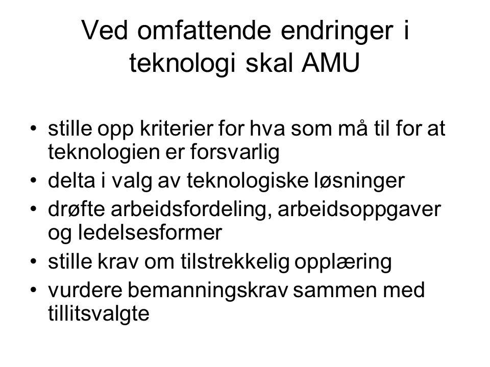 Ved omfattende endringer i teknologi skal AMU •stille opp kriterier for hva som må til for at teknologien er forsvarlig •delta i valg av teknologiske