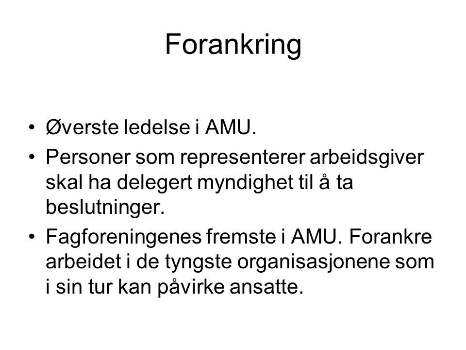 Forankring •Øverste ledelse i AMU. •Personer som representerer arbeidsgiver skal ha delegert myndighet til å ta beslutninger. •Fagforeningenes fremste