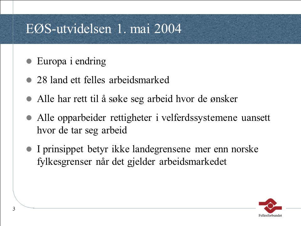3 EØS-utvidelsen 1. mai 2004  Europa i endring  28 land ett felles arbeidsmarked  Alle har rett til å søke seg arbeid hvor de ønsker  Alle opparbe
