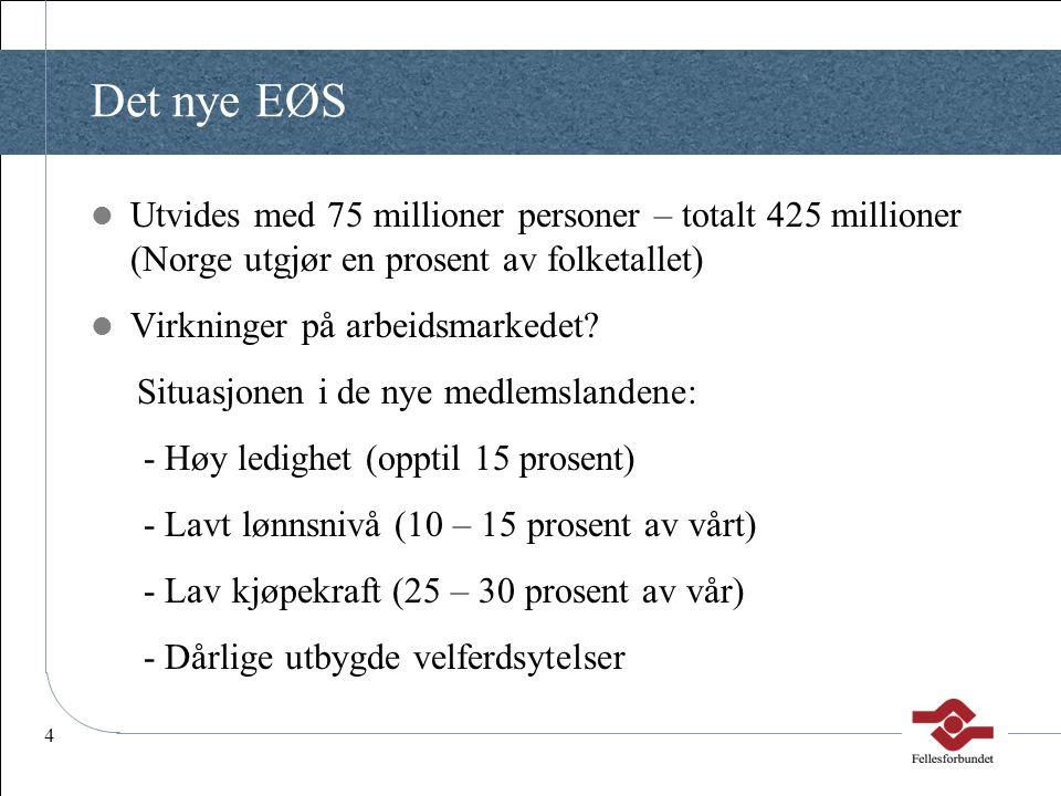 4 Det nye EØS  Utvides med 75 millioner personer – totalt 425 millioner (Norge utgjør en prosent av folketallet)  Virkninger på arbeidsmarkedet? Sit