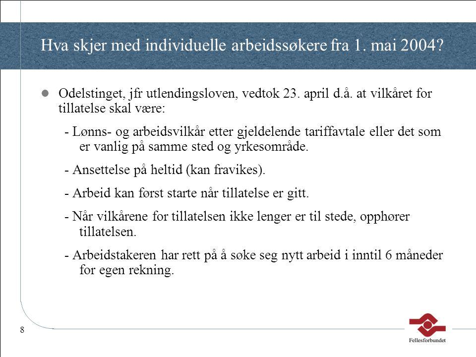 8 Hva skjer med individuelle arbeidssøkere fra 1. mai 2004?  Odelstinget, jfr utlendingsloven, vedtok 23. april d.å. at vilkåret for tillatelse skal