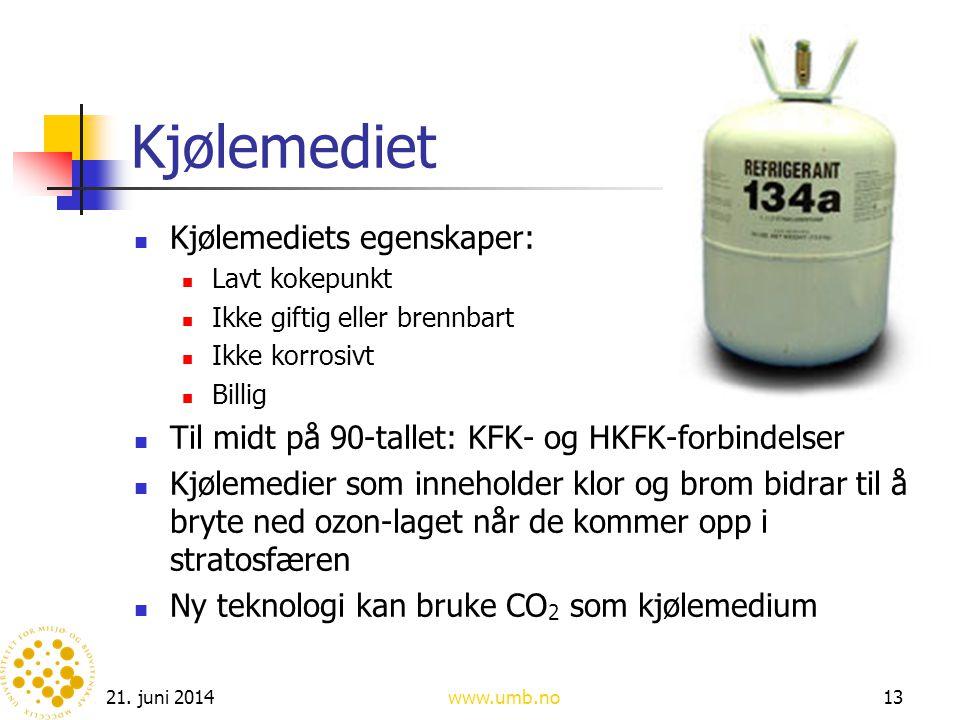 21. juni 2014www.umb.no13 Kjølemediet  Kjølemediets egenskaper:  Lavt kokepunkt  Ikke giftig eller brennbart  Ikke korrosivt  Billig  Til midt p