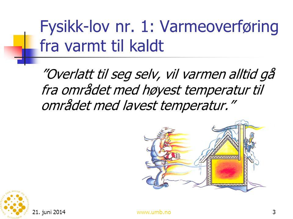 """21. juni 2014www.umb.no3 Fysikk-lov nr. 1: Varmeoverføring fra varmt til kaldt """"Overlatt til seg selv, vil varmen alltid gå fra området med høyest tem"""