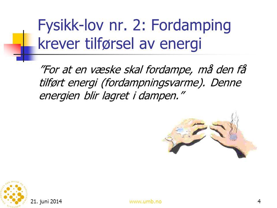 """21. juni 2014www.umb.no4 Fysikk-lov nr. 2: Fordamping krever tilførsel av energi """"For at en væske skal fordampe, må den få tilført energi (fordampning"""