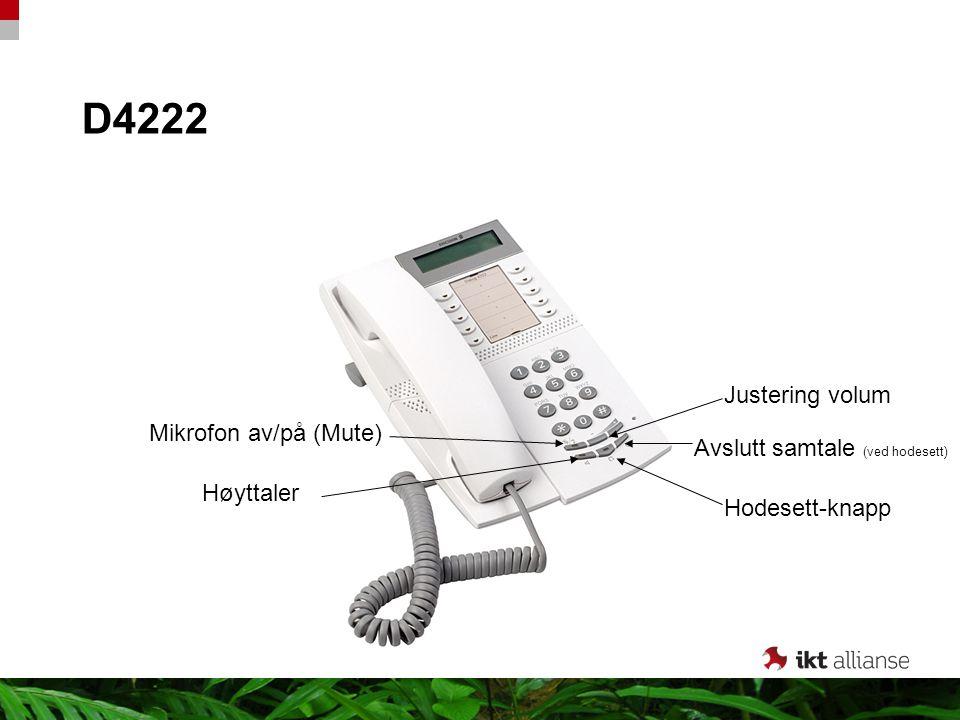 D4222 Høyttaler Hodesett-knapp Mikrofon av/på (Mute) Justering volum Avslutt samtale (ved hodesett)