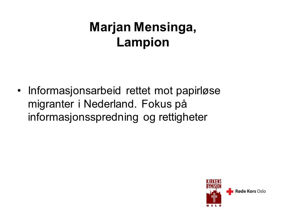 Marjan Mensinga, Lampion •Informasjonsarbeid rettet mot papirløse migranter i Nederland.