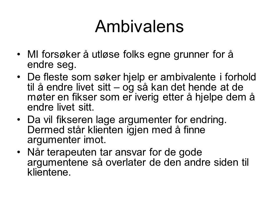 Ambivalens •MI forsøker å utløse folks egne grunner for å endre seg.