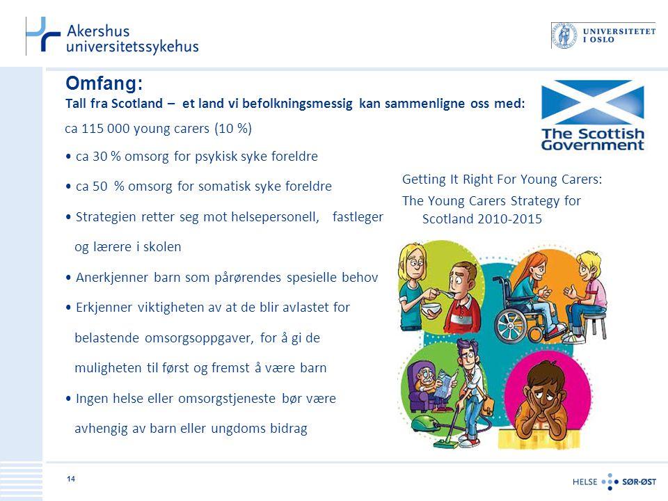 Omfang: Tall fra Scotland – et land vi befolkningsmessig kan sammenligne oss med: ca 115 000 young carers (10 %) • ca 30 % omsorg for psykisk syke for